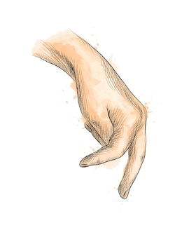 Hand with fingers simulating someone walking from a splash of watercolor, hand drawn sketch.  illustration of paints