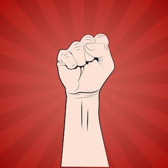 Рука с кулаком подняла плакат протеста или революции.