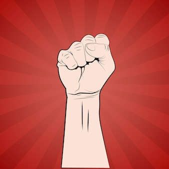 Hand with fist raised up protest or revolution poster.