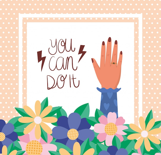 Hand with flowers and leaves of women empowerment vector