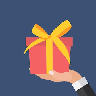 Hand with gift box flat design.