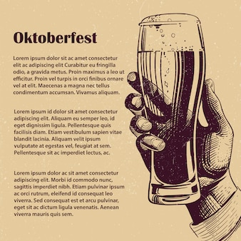 Hand with glass of beer. oktoberfest banner
