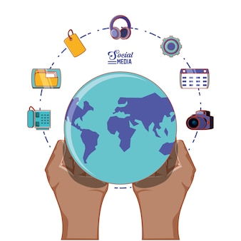 Hand with globe world and social media set icons