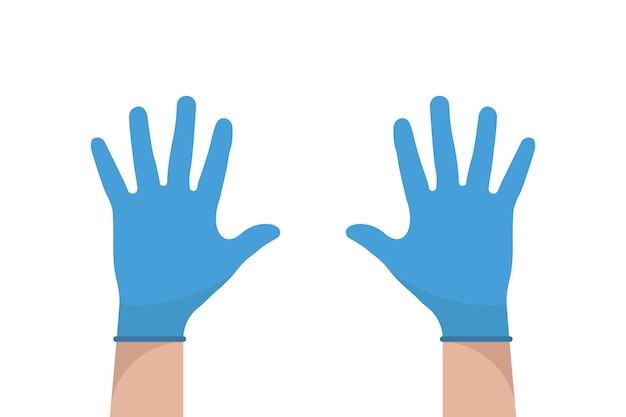 Рука в перчатках. латексные перчатки вектор. значок предупреждения. плоский дизайн медицинского оборудования. здравоохранение.