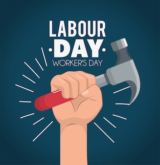 Hand with hand to labour day celebration