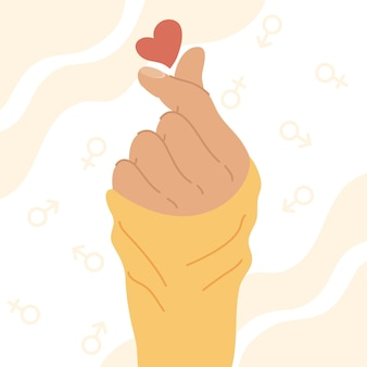 Hand with heart and genders symbols