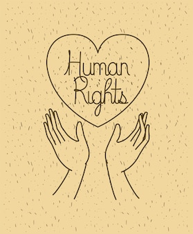 Hand with heart human rights drawns