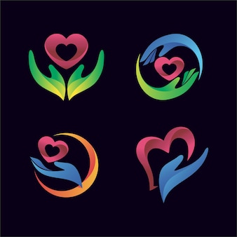 Hand with heart icon for health and clinic logo