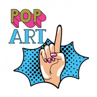 Hand with index finger up pop art