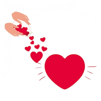 Hand with jar and hearts isolated icon