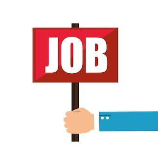 Hand with job label vector illustration design