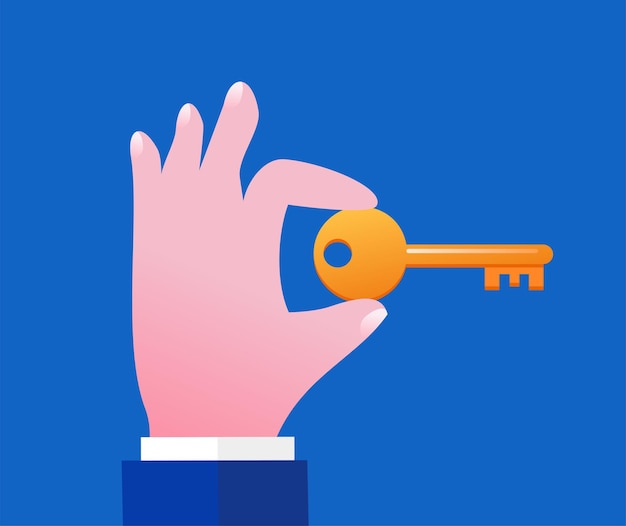 Hand with a key on dark blue background. flat vector illustration