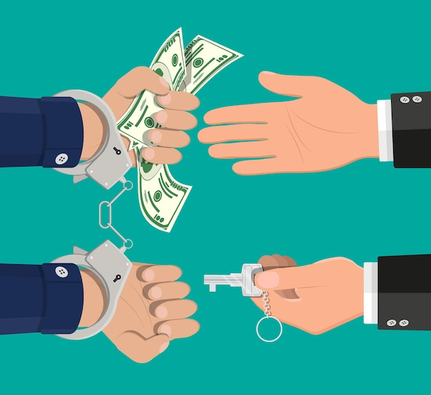 お金のために手錠の鍵を開ける手