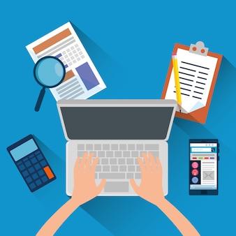 Рука с ноутбуком и офисные финансы с калькулятором
