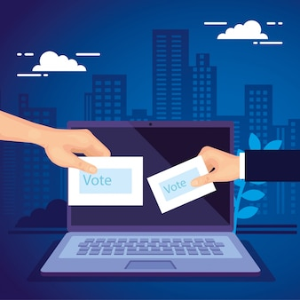 Hand with laptop computer for vote online