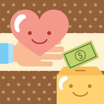 기부 기부 자선 상자에 돈을 붓는 사랑으로 손