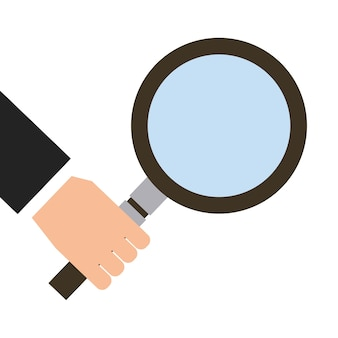 Hand with magnifying glass icon over white background.