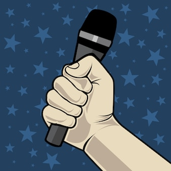 Hand with microphone. on a blue background with stars.