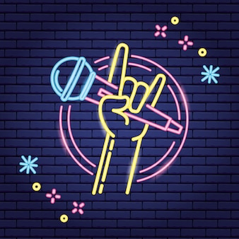 Hand with microphone in neon style, karaoke
