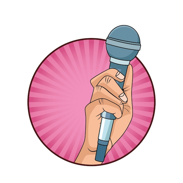 Hand with microphone pop art style icon