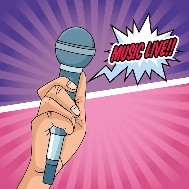 Рука с микрофоном значок стиля поп-арт