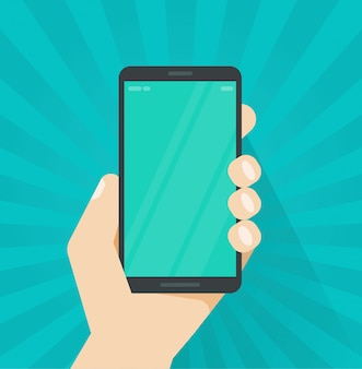 Hand with mobile phone or cellphone  flat cartoon