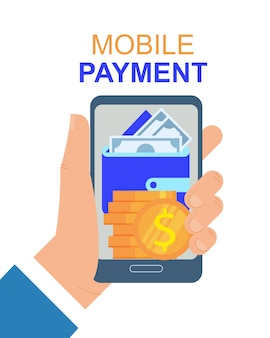 Hand with mobile phone payment app vector illustration.