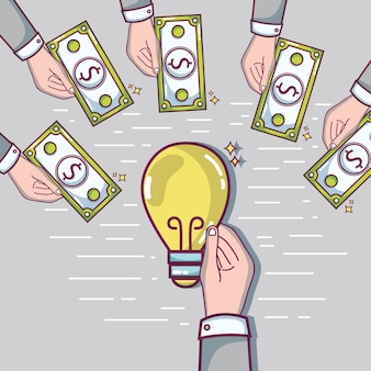 Hand with money to crowdfunding business finance