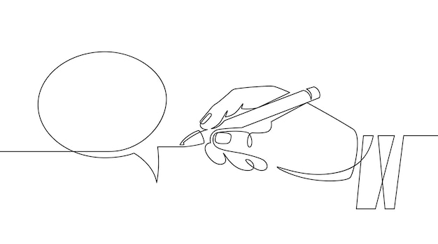Hand with pen drawing speech bubbles. sketch hand draws empty think balloon. chat communication one continuous line vector concept. holding pencil in palm and creating dialogue bubble