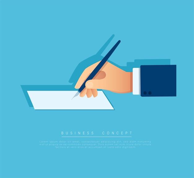 白いページにペンで書く手