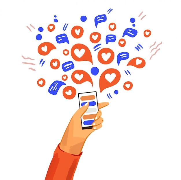 전화 만화 일러스트와 함께 손입니다. 메신저, 온라인 채팅, 메시지 표시, 아이콘 및 소셜 참여가있는 스마트 폰. 행복하고 친근한 의사 소통