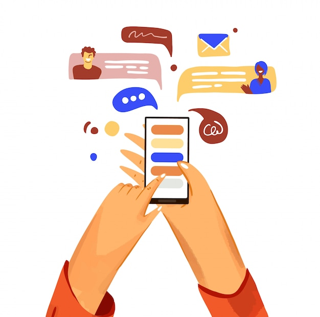 Hand with phone cartoon illustration. smartphone with messenger, online chat, like and social engagement, isolated on white background