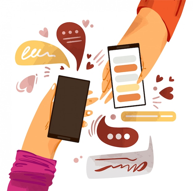 Hand with phone   cartoon illustration. smartphone with messenger, online chat, like and social engagement, isolated