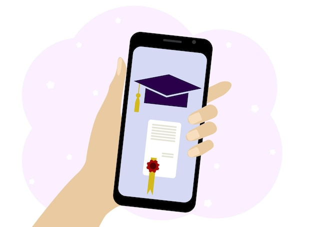Hand with phone vector drawing. online learning symbols on the phone. hat and diploma