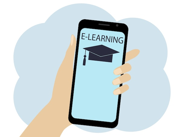 Hand with phone vector drawing. online learning symbols on the phone. hat and text
