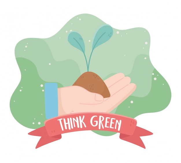 Hand with plant think green environment ecology