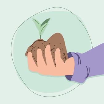 Рука с растением