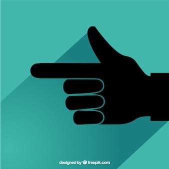 Рука с указанием иконку пальцем