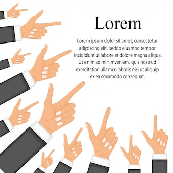 Hand with pointing finger. modern flat design concepts for web banners, web sites