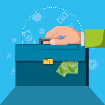 Hand with portfolio and set icons economy finance