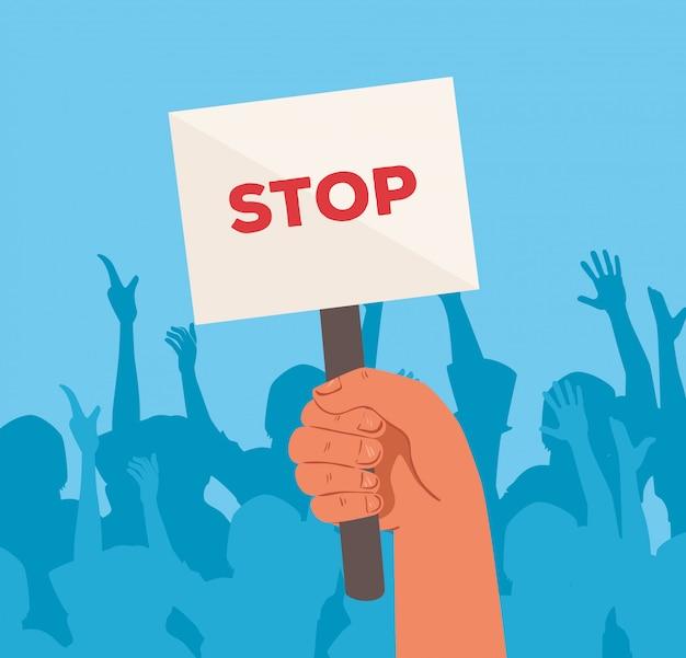 抗議のプラカードの一時停止の標識、バナー、ストライキの症状の記号、人間の権利の概念を持つ活動家を保持している手