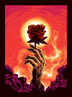 Hand with the rose illustration