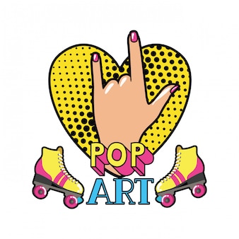 Hand with sign rock pop art