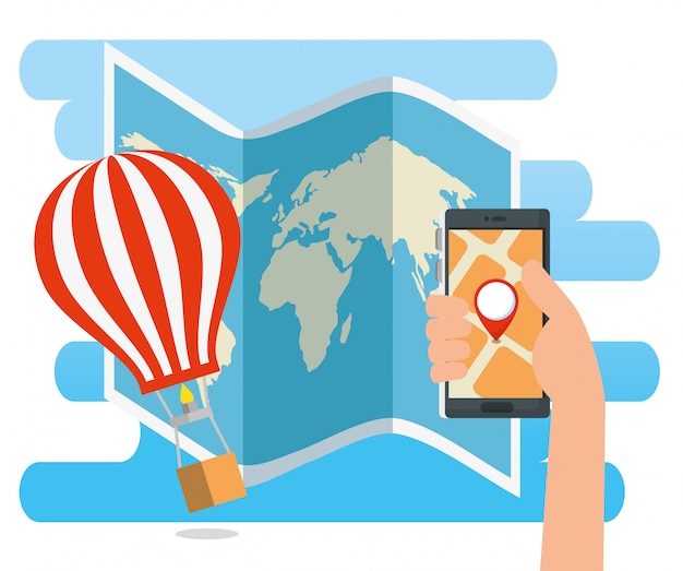 Hand with smartphone address location and airballoon