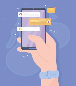 スマートフォンのチャットアプリケーション、ソーシャルネットワークの通信システムと技術のイラストが手 Premiumベクター