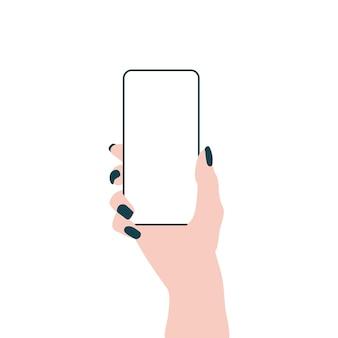 スマートフォンの空の携帯電話画面フラットコンセプトで手
