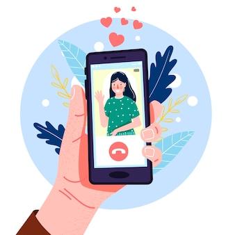 モダンなフラットスタイルのスマートフォンを手に。手描き。図。ビデオ通話。ソーシャルネットワーク、コミュニケーション。あなたのデザインのために。