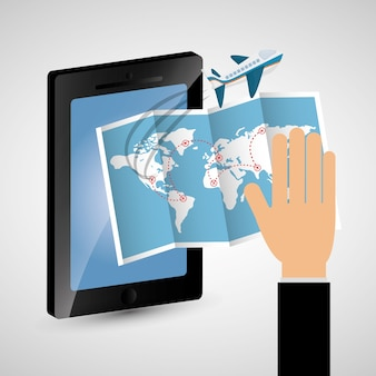 Hand with smartphone map aircarft travel