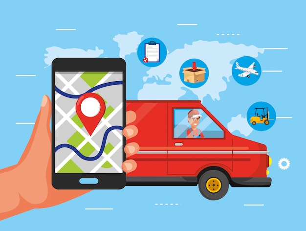 Hand with smartphone map location and man in the van transportation