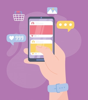 スマートフォンソーシャルネットワークデジタル通信チャットで手 Premiumベクター